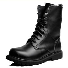 US Size 5-11 New Black Combat Leather Lace Up Mens Military Ankle Boots Shoes