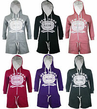 New Womens Ladies Hooded 3/4 Sleeve Playsuits Jumpsuit Shorts Onesie S M L XL