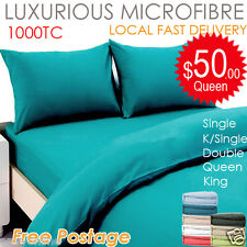 1000TC Microfiber Aus Size Quilt/Doona Cover or Sheet Set Flat,Fitted,Pillowcase
