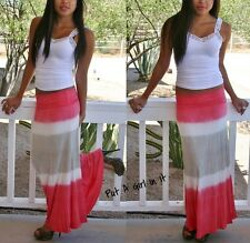 FOLD OVER WAIST CORAL TAUPE OMBRE STRIPED TIE DYE LONG MAXI KNIT SKIRT S M L
