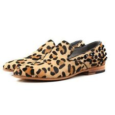 3 Colors US Size 5-11 New Leopard Leather Slip On Mens Studs Casual Loafer Shoes