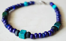 Men/Women's Beaded Bracelet/Anklet- Natural Malachite Green/Blue bracelet/Anklet