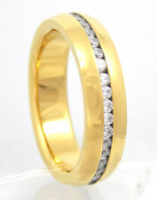 New Men Stainless Steel 316L Gold Plated CZ Stones Wedding Anniversary Band Ring