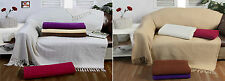 Large 100% Woven Cotton Sofa Settee/ Bed Throw Cover Waffle / Batten Throwovers