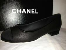 CHANEL Black Leather Satin Cap Toe CC Logo Ballerina Ballet Flats Shoes $750