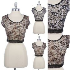 Leopard Print Full Floral Lace Cropped Top Short Sleeve Round Neck Sexy Cute