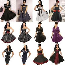 KNIELANGES ROCKABILLY KLEID 50er PETTICOAT KLEID COCKTAILKLEID ABENDKLEID PIN UP