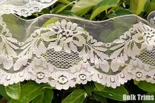 "Lacy Mesh Off White Scalloped Floral Lace 4½ "" wide"