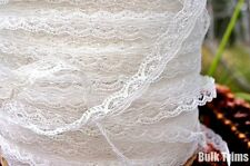 "Iridecent Scalloped White Lace Trim 3/8"" wide"