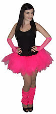 Neon Pink 4 Layer Tutu Legwarmers Gloves UK Sizes 8 - 20 80s Fancy Dress Costume