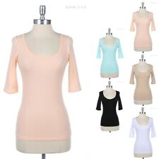 3/4 Sleeve Solid Scoop Neck Top Casual Cotton Spandex Easy Wear SML