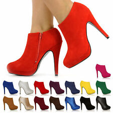 NEW LADIES WOMEN CASUAL ANKLE BOOTS PLATFORM HIGH HEELS SIZE 3 - 8