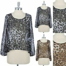 Chiffon Leopard Print Long Sleeve Sheer Mesh Top Round Neck High Low Hem