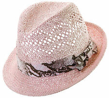 Scala by Dorfman Pacific Womens Straw Summer Fedora with Snakeskin Print Ribbon