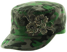 Scala by Dorfman Pacific Womens Military Cadet Cap with Gold Flower Detail