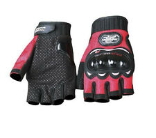 RED MESH FINGERLESS  MOTORCYCLE BIKER RIDING GLOVES WITH HARD KNUCKLE PROTECTOR
