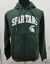 New Youth (All Sizes) Michigan St. Spartans Green Full Zipper Hooded Sweatshirt