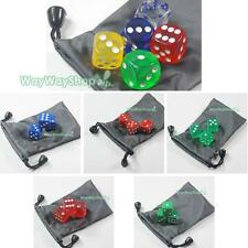10 pcs Sided Clear 6 Sided D6 16mm RPG DUNGEONS & DRAGONS D20 Game Dice and bag