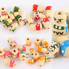 Wholesale Colorful Cute Doll Wood Spacer Loose Beads Charms Jewelry Findings
