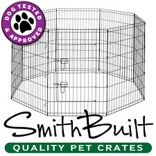 8 Panel Dog Exercise Play Pen Door Run Playpen Fence Kennel Crate Cage - Black