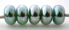 GREEN LUSTER METALLIC *  lampwork glass spacer beads TANERES sra