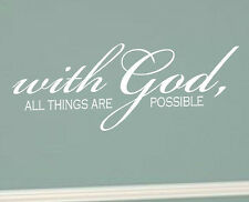 WITH GOD ALL THINGS ARE POSSIBLE Vinyl Wall Decal Sticker Word Art Bible Verse