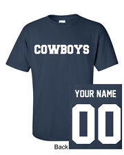 Cowboys Custom Name & Number Navy T-Shirt Jersey Personalized New!