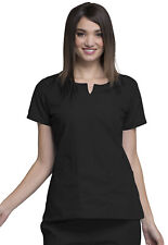 Black Cherokee Workwear Round Neck Scrub Top 4824 BLKW