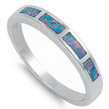 GREEN OPAL BAND .925 Sterling Silver Ring SIZES 5-9