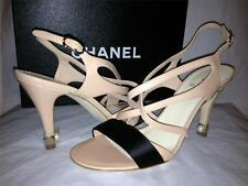 CHANEL Beige Leather Satin Pearl Ankle Strap Strappy Sandals Heels Shoes $850