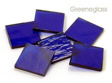 Cobalt Blue Cathedral Rough Rolled Mosaic Glass Tile Cut to Order Shapes Lg Pack