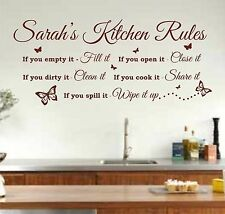 Personalised Kitchen Rules Quote Wall Art Sticker, Decal, Graphic K26