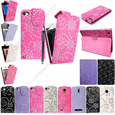 Luxury Sparkly Diamond Bling Leather Flip Case For Various Phone + Guard +Stylus
