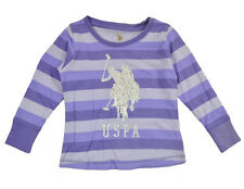 US Polo Assn Toddler Girls Striped Purple & Silver Top Size 2T 3T 4T $29