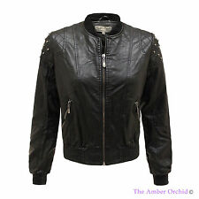 LADIES STUDDED PVC FAUX LEATHER WOMENS RIBBED CROPPED BIKER JACKET COAT TOP 8-16