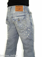 True Religion Men Ricky Vintage Distressed Blue Millerton Straight Leg Fit Jeans