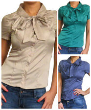 Ladies Blouse Womens Shirt Top Long Pussy Bow Tops New Size 10 12 14 16 18 20