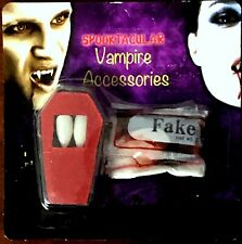 Vampire dracula Fake Blood + fangs caps teeth Halloween FANCY DRESS /HALLOWEEN