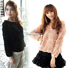 Lady's Charming Sweet 3D Rose Flower Mesh Round Neck Pullover Blouse Top ES9P