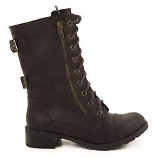 Dome Brown Military Combat Punk Lace Up Boots & Zipper Women Soda Shoes