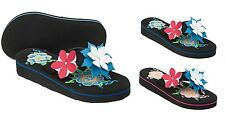 Ladies Summer Flip Flop Floral Design Toe Post Sandals Size 3 to 8 UK -  STYLE A