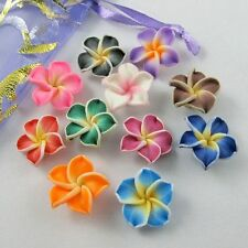 100pc Mixed Polymer Fimo Clay 5-leaves Flower Spacer Beads 15x5mm U pick color