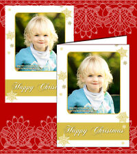 10 Personalised Christmas Greeting Cards Thank You Notes Gold Photo Xmas Card