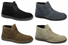 Lucini Mens Suede Leather Lace-Up Ankle Desert Boots Teal Grey/Tan/Sand/Black
