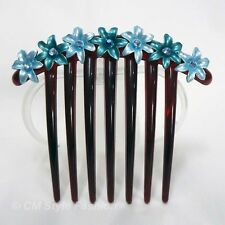 Floral Flower Design Hair Comb w/ Shiny Stones Blue Purple Pink Brown Green