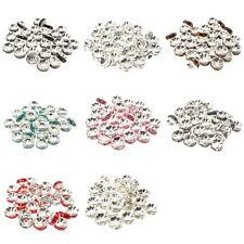 30 Silver Plated Coloured Round Diamante Crystal Rondelle Spacer Beads 4mm