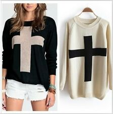 Free Women Chic Cross Pattern Knitted Sweater Crew Pullover Outerwear Loose Tops