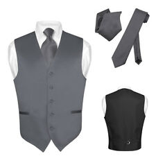 Men's Dress Vest NeckTie CHARCOAL GREY Neck Tie Set for Suit or Tuxedo