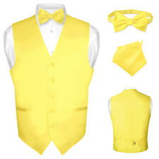 Men's Dress Vest BOWTie GOLDEN YELLOW Bow Tie Set for Suit or Tuxedo