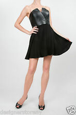 Naven Bombshell Faux Leather Top with Circle Skirt Dress in Black